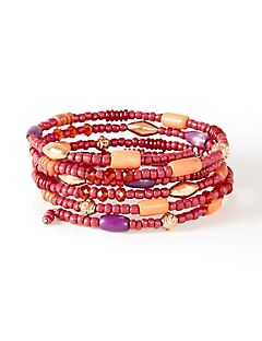 Teaberry Beaded Wrap Bracelet