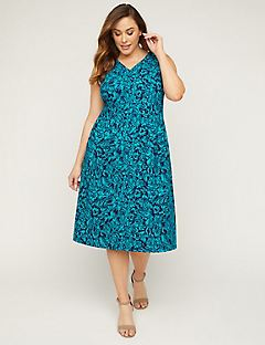 Teal Garden Fit & Flare Dress