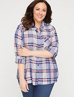 Classic Plaid Buttonfront Top