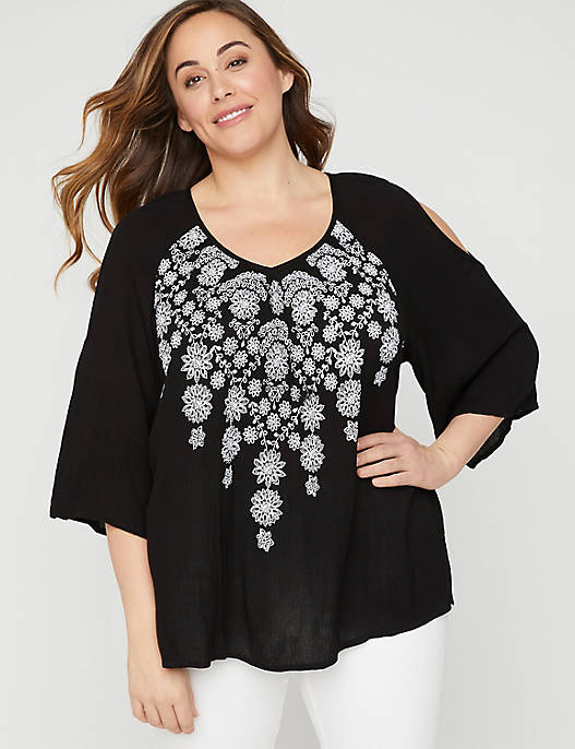 Embroidered Imprint Peasant Top