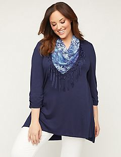 Draped Scarf Duet Tunic