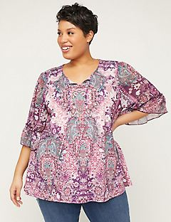 Plum Garden Peasant Top