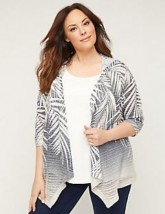 Floral Shadow Stripe Cardigan with Hood