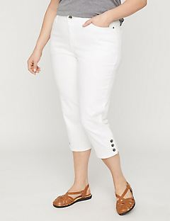 Button-Hem Denim Capri with Comfort Waist
