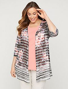 Floral Shadow Stripe Cardigan