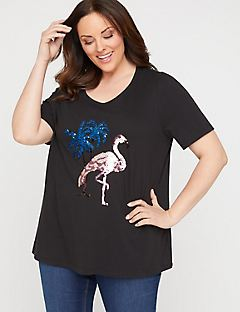 Sequin Swipe Flamingo Tee