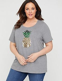 Sequin Swipe Pineapple Tee