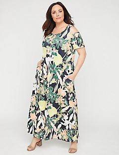 Tropic Petal Maxi Dress with Pockets