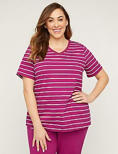 Striped Crochet-Inset Suprema Top