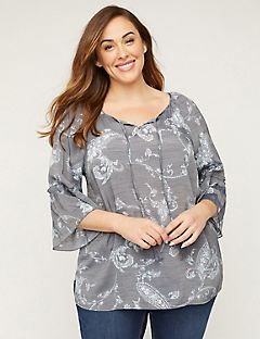 Dove Paisley Peasant Top