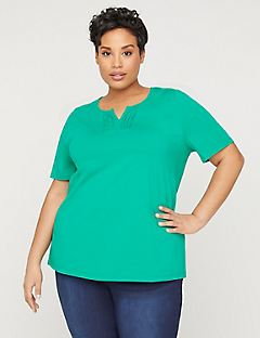 Pleated-Neck Suprema Top
