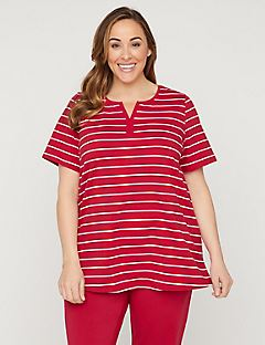 Striped Notch-Neck Suprema Tunic Top