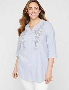 Striped Embroidered Tunic Top