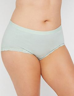 Cotton Boyshort Panty With Lace Trim