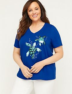 Sequin Swipe Turtle Tee