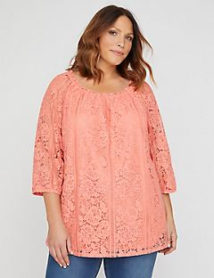 Embroidered Lace Off-The-Shoulder Top - Terra Cotta
