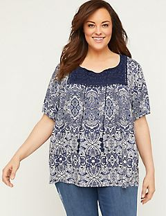 Ink Paisley Top with Crochet