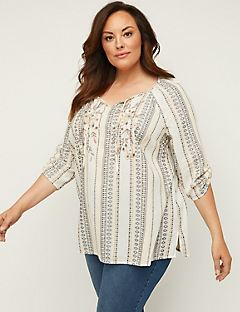 3eda8bbcecdad2 Plus Size Shirts & Blouses. Embroidered Harbor Peasant Top