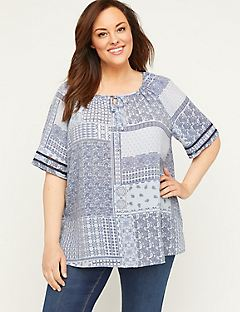 Patchwork Peasant Top