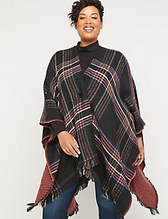 Lenwood Plaid Reversible Ruana