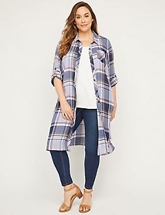 Georgette Plaid Duster