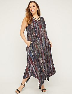 AnyWear Sunset Meadow Maxi Dress with Pockets