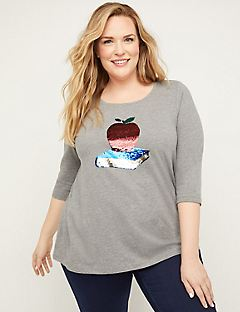 Sequin Swipe Apple Tee