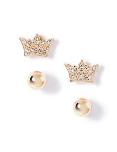 2-Pack Glistening Crown Stud Earrings