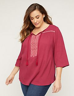 Embroidered Gauze Peasant Top
