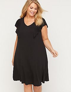 Ruffle-Sleeve Swim Cover-Up