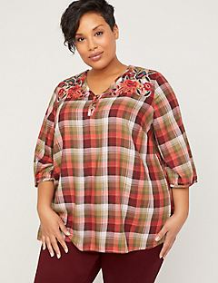 Sedona Embroidered Plaid Top