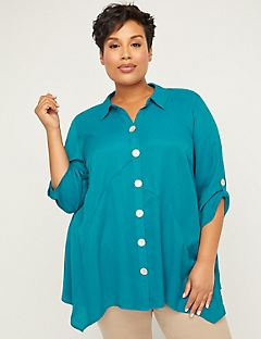 Deep Water Crinkle Buttonfront Tunic Top