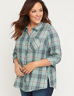 Vista Breeze Buttonfront Plaid Top