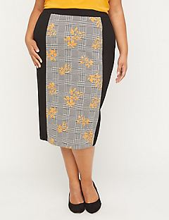 Black Label Floral Houndstooth Skirt