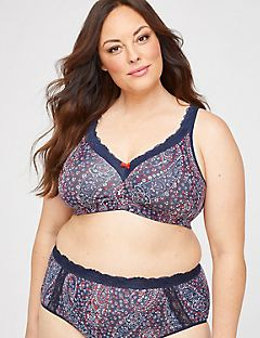 Printed Cotton Comfort No-Wire Bra With Lace