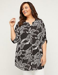 Georgette Palm Leaf Buttonfront Tunic Top