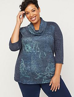 ComfySoft Patchwork Cowl-Neck Top