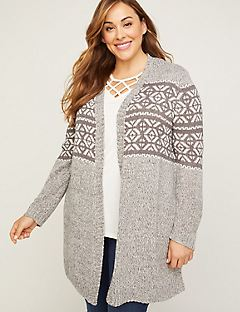 Fair Isle Sparkle Tunic Cardigan