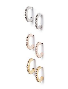 3-Pack Classic Hoop Earrings