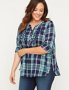 Lake Plaid Embroidered Top
