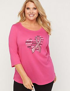Powerful Pink Glitter Ribbon Tee