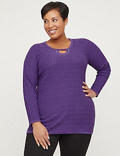 Textured Keyhole Pullover Sweater