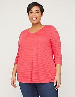 Shadow Stripe Top With Crisscross Back
