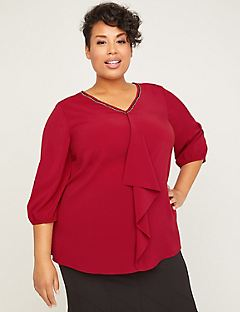 Black Label Drape-Front Blouse