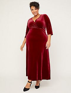Red Velvet Faux-Wrap Dress