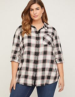 Snow Day Flannel Buttonfront Top