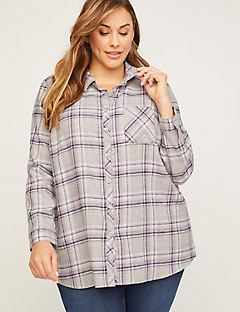 Shimmer Stitch Flannel Buttonfront Top