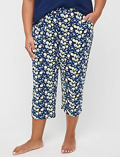 Lemon Squeeze Cotton Sleep Capri