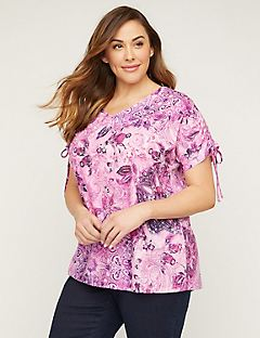 Floral Paisley Top with Ties