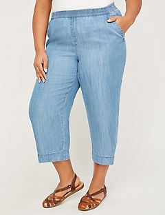 Chambray Wide Leg Pull-On Capri